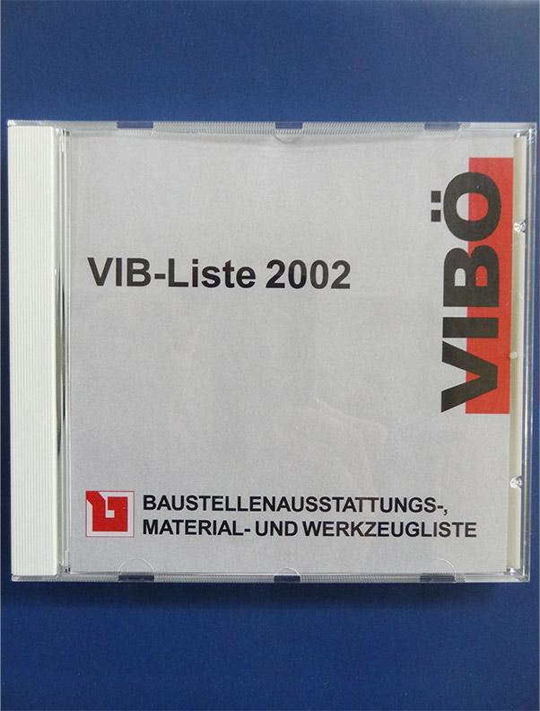 Baustellenausstattungs-, Material- und Werkzeugliste 2002 (VIB-Liste) / CD-Rom